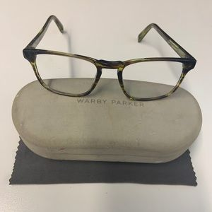 Warby Parker eyeglass frame with case and duster